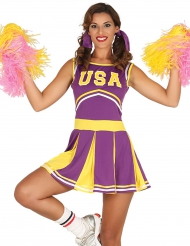 Déguisement pompom girl USA violet et jaune femme