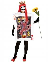 Déguisement carte reine de carreau squelette femme Halloween