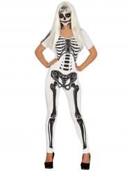 Déguisement combinaison squelette blanc femme Halloween