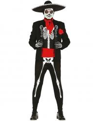 Déguisement mexicain squelette noir et blanc homme Dia de los muertos