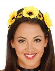 Diadème fleurs jaunes femme