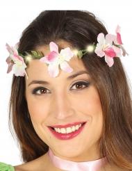 Couronne de fleurs roses lumineuse adulte