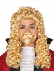 Perruque longue marquis blond avec moustache adulte
