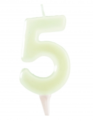Bougie phosphorescente 6 cm chiffre 5