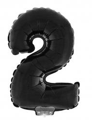 Ballon aluminium géant chiffre 2 noir 1 m