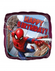 Ballon aluminium carré Spider-man ™ Happy Birthday43 cm