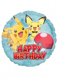 Ballon aluminium rond Happy Birthday Pokémon™ 43 cm