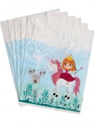 6 Sacs cadeaux en plastique princesse 15 x 23 cm