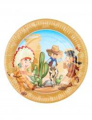 6 Assiettes Cowboy et Indien 23 cm
