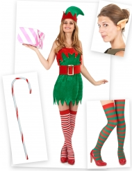 Pack déguisement elfe femme avec oreilles, bas et canne