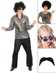 Pack déguisement disco argenté homme