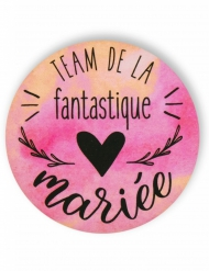 Badge épingle aquarelle Team mariée 56 mm