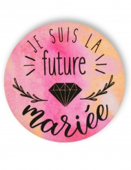 Badge épingle aquarelle Future mariée 56 mm