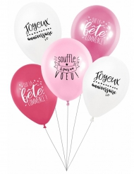 5 Ballons latex biodégradable Fais un voeu en rose 27 cm