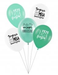 5 Ballons latex biodégradable Super anniversaire menthe 27 cm