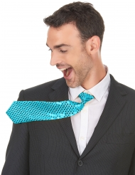 Cravate turquoise avec sequins adulte