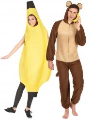 Déguisement de couple banane et singe adulte