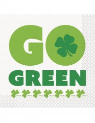 16 Petites serviettes Go Green St Patrick 25 x 25 cm