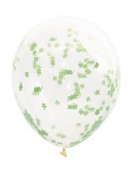 5 Ballons en latex transparents avec confettis trèfles verts 40,6 cm