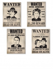 Lot de 4 affiches Wanted