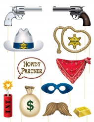 Accessoires pour Photobooth thème Western (12 pièces)