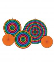 Rosaces en papiers à suspendre multicolores