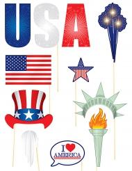 Kit photobooth thème USA 11 accessoires