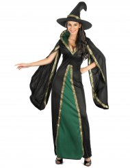 Déguisement sorcière noire et vert femme