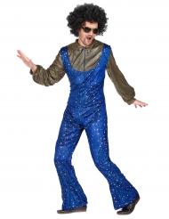 Déguisement disco bleu et doré homme