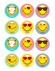 12 Décorations en sucre pour biscuits Smiley World ™ 5 x 8 cm