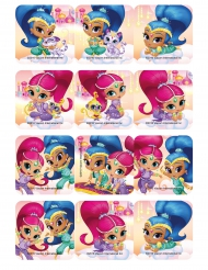 12 Vignettes en sucre pour biscuits Shimmer and Shine™ 6 cm