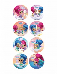 18 Mini disques en sucre Shimmer and Shine ™ 3,4 cm