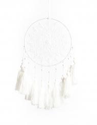 Attrape rêves avec pompons blancs en laine 28 x 20 cm