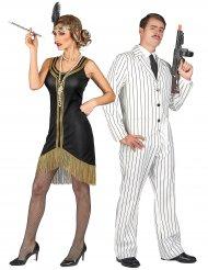 Déguisement de couple gangster blanc et charleston noir et or adultes