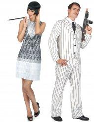 Déguisement de couple gangster blanc et charleston blanche adultes