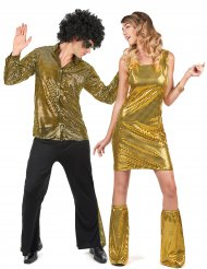 Déguisement de couple disco sequins or adultes
