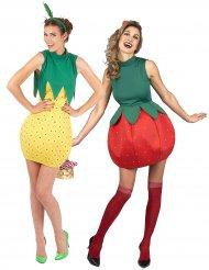 Déguisement de couple fruits fraise et ananas femmes