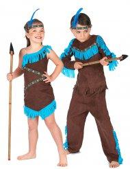 Déguisement de couple indienne et indien marron enfants