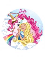 Disque en sucre Barbie™ et sa Licorne 20 cm
