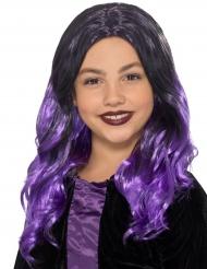 Perruque longue noire et  violette enfant
