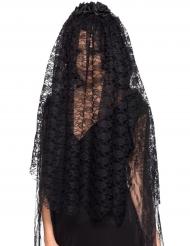 Voile long veuve noire adulte