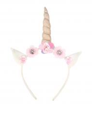Serre-tête Licorne avec fleurs blanc rose et doré fille