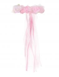 Couronne de Princesse en fleurs rose clair fille
