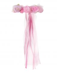 Couronne de Princesse en fleurs rose fille