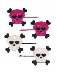 4 Barrettes tête de mort rose et blanc fille