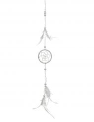 Attrape rêve uni avec plume blanc 5 x 35 cm