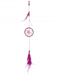 Attrape rêve uni avec plume fuchsia 5 x 35 cm
