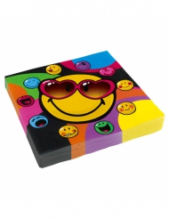 20 Serviettes en papier Smiley World™ 33 x 33 cm