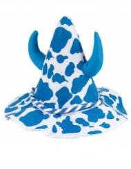 Chapeau tacheté bleu et blanc avec cornes