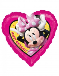 Ballon cœur aluminium Happy Birhday Minnie™ 43 x 43 cm
